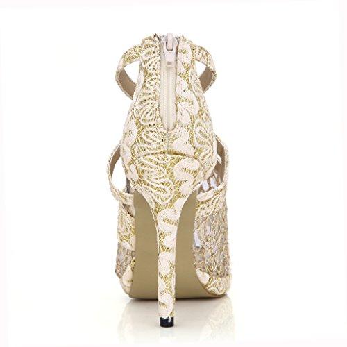 DolphinBanana Lace Sandal Pumps Women Peep Toe Dress Party Stiletto Shoes Dolphin Prom Wedding Heels Prime Golden RhSWrctVb