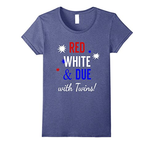 Twin Announcement - Womens Red, White and Due with Twins - Pregnancy Announcement Shirt Medium Heather Blue
