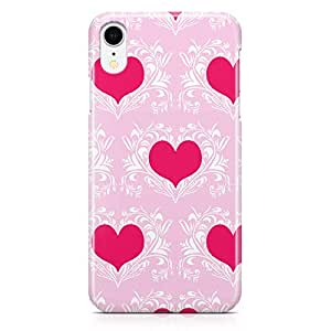 Loud Universe Case for iPhone XR Wrap Around Edges Valentines Day Couples Love Damask Heart Pattern Durable Light Weight Vibrant Colors iiPhone XR Cover