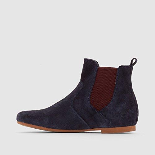 R Essentiel Boots, Leder mit Farbigem Elastikeinsatz Gr. 2639 Marine + Bordeauxrot