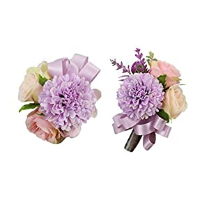 USIX 2pc Pack-Handmade Artificial Rose Dahlia Flower Wrist Corsage & Men's Lapel Boutonniere Pin for Wedding Party Prom Homecoming (Lavender Pack) 59