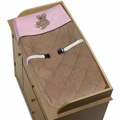 Pink Teddy Bear Design (Sweet Jojo Designs Pink and Chocolate Teddy Bear Girls Changing Pad Cover)