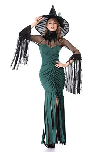 XSQR Halloween Cosplay Femme Sorcire Festival Fant?me Maquillage Costume De Bal Vert Robe Green