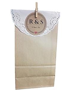 50 bolsas kraft con blonda personalizadas pra tu boda ...