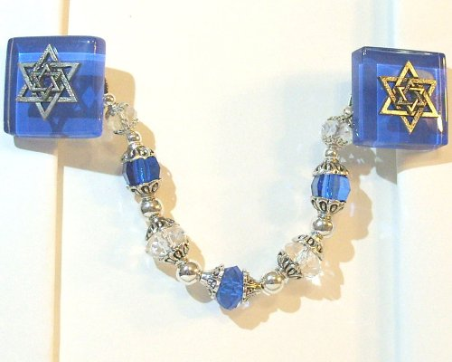 Glass Tallit Clips in Sapphire and Silver