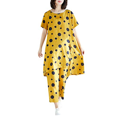 Womens Casual 2 Pcs Outfits Short Sleeve Scoop Neck Tunic Tops Polka Dot Print Swing Blouse Soft Breathable Loose Cropped Pants Summer Lounge Suits