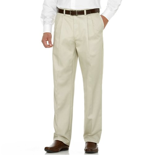 Savane Men's Big & Tall Wrinkle Free Pleated Twill Pant, Alabaster, 40W 36L