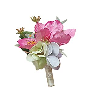 Estyle Fashion Wedding Artificial Flower Wrist Corsage Pearl Bridal Bridesmaids Bridegroom Brooch Bracelet Mens Ladies Boutonniere 8