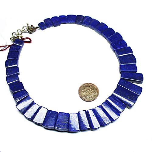 GemAbyss Beads Gemstone Blue Lapis Lazuli Faceted Rectangle Chiclet Gemstone Loose Craft Beads Strand 14 Inch Long 9mm 24mm Code-MVG-27134