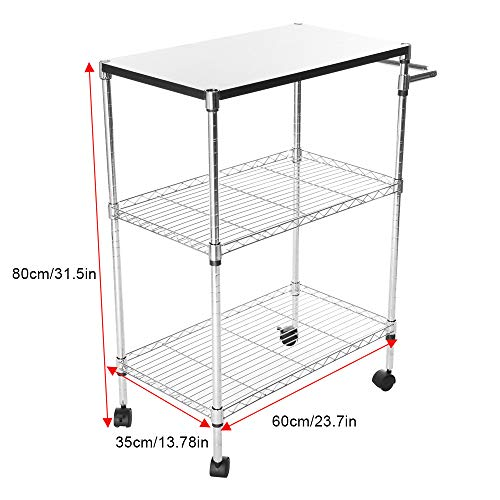 ley Cart Storage Rack Wheeled Wooden Table Multi-layerStorage Cart Multi-Function Supplies Stainless Steel Rack (Silver, Delivered Within 5 Days) ()