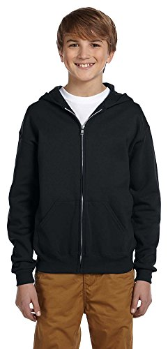 (Jerzees boys NuBlend Full-Zip Hooded Sweatshirt(993B)-BLACK-L)