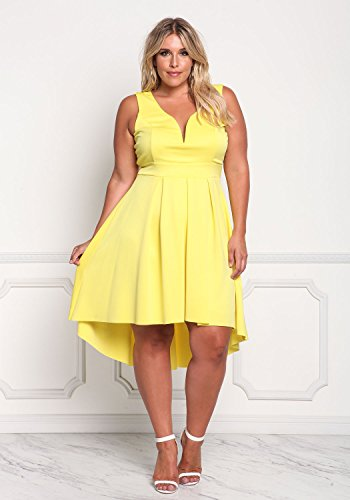 Line High Size Hem Sweet Neck Dresses Yellow Heart A Plus Women's ROSIANNA Sleeveless Low qwvTzp