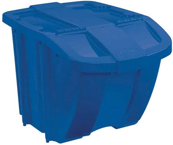 Suncast 18 Gallon Durable Stackable Resin Home Recycle Storage Bin w/ Lid, Blue