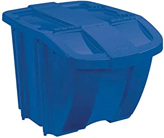 product image for Suncast 18 Gallon Durable Stackable Resin Home Recycle Storage Bin w/ Lid, Blue