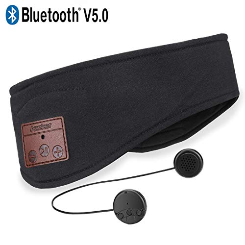Azzker Bluetooth Headband, Bluetooth V5.0 Wireless Hands-Free Sleep Headphones Sports Headband with Detachable Ultra-Thin HD Stereo Speakers and Mic for Sleeping Yoga Calls Travel & Hiking-Black