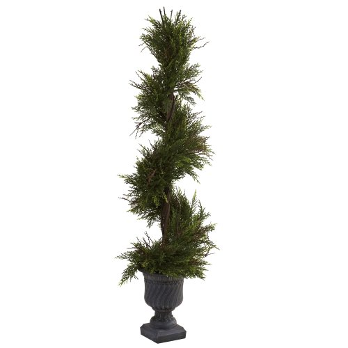 Indoor/Outdoor 45-Inch Mini Pine Spiral with Urn, Green ()
