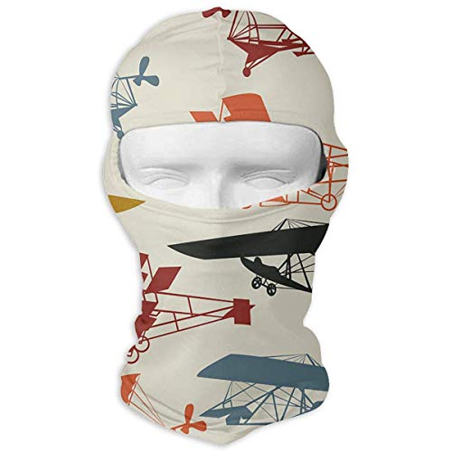 Stazary Free Vintage Airplane Clipart Windproof Dustproof Face Mask UV Prevention Hood Hat