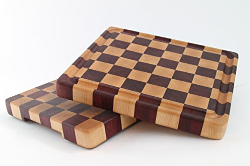 Handcrafted Wood Cutting Board - End Grain - Purpleheart & Cherry. No slip, easy grip. Optional juice groove. For him or her, Chef or cook