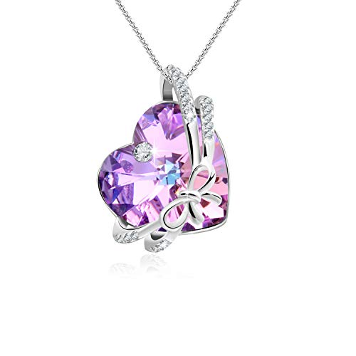 Crystal Filled Heart - GEORGE · SMITH ❤️Gift for her❤️The Crush Purple Heart Pendant Necklace with Swarovski Crystals, Love Heartbeat Birthday Wedding Anniversary Jewelry for Girlfriend Wife (Bowtie-1)