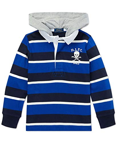 Ralph Lauren Polo Boys Boys Striped Hooded Cotton Rugby Shirt (Royal Multi, Medium) (Hooded Striped Rugby)