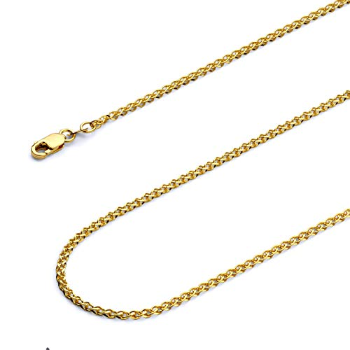 Wellingsale 14k Yellow Gold SOLID 2mm Polished Flat Open Wheat Chain Necklace - 22