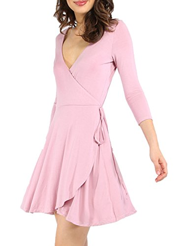Verdusa Women's Sexy Deep V Neck Fit and Flare Wrap Waist Short Mini Swing Dress Pink L
