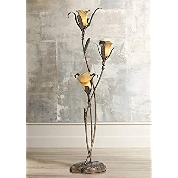 Artistic Floor Lamp Bronze And Gold Lily Shaped Amber
