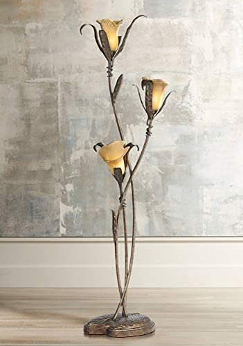 Artistic Floor Lamp Bronze and Gold Lily Shaped Amber Glass Flower Lights for Living Room Bedroom Uplight - Franklin Iron Works