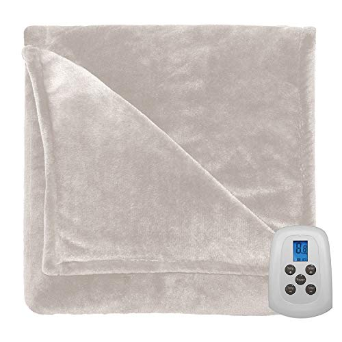 Perfect Fit Silky Plush Electric Heated Warming Blanket Twin