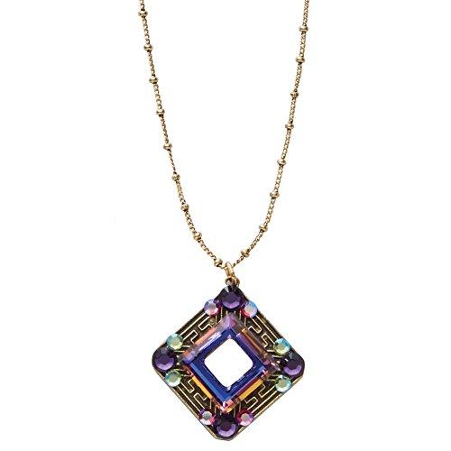 (Anne Koplik Designs Aurora Borealis Antiqued Brass and Swarovski Crystal Necklace)