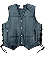 Men's Leather 10 Pockets Motorcycle Biker Vest New All Sizes (XL (CHEST 44-46 INCHES))