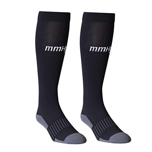 2 Pair mmHg Athletic Compression Socks, Knee-High 20-30mmHg (Black, XX-Large)