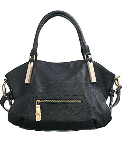 Twist Lock Handbag Hobo (Laurel&Sunset Twistlock Pocket Black Large Crossbody Convt Hobo Handbag)