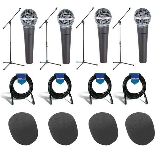 (Shure 4 Pack SM58-LC Cardioid Dynamic Handheld Wired Microphone - Bundle With 4x Samson MK10 LW Boom Mic Stand, 4x 20' 7mm Rubber XLR Mic Cable, 4x On-Stage ASWS58 Foam Windscreen)