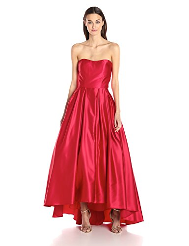 Betsy & Adam Women's Strapless Ball Gown, Red, 2 (& Gown Adam Evening Betsy)