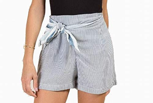 Angie White Womens Large Belted Pinstriped Shorts Blue L