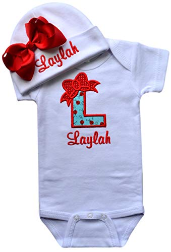 Baby Girl Embroidered Initial Onesie Bodysuit and Matching Grosgrain Bow Hat with Your Custom Name (6-9 Months, Ladybug with Red Bow Hat)