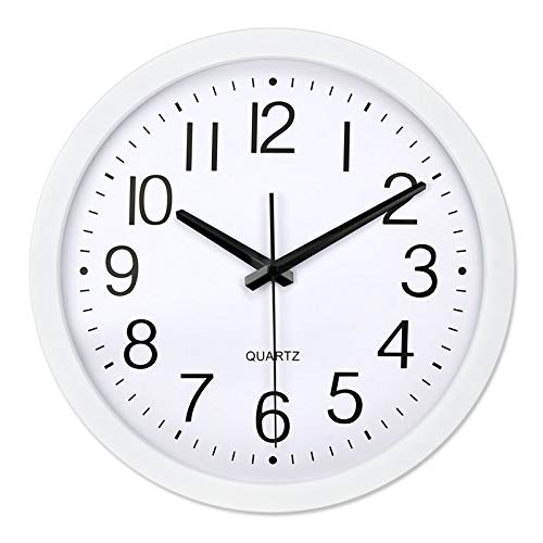 (SXK TECH -Environmental Protection Wall Clock,12inch Battery Operated(Not included in the goods),Wall Clock Decoration Simple Silent Circular Wall Clock-White)