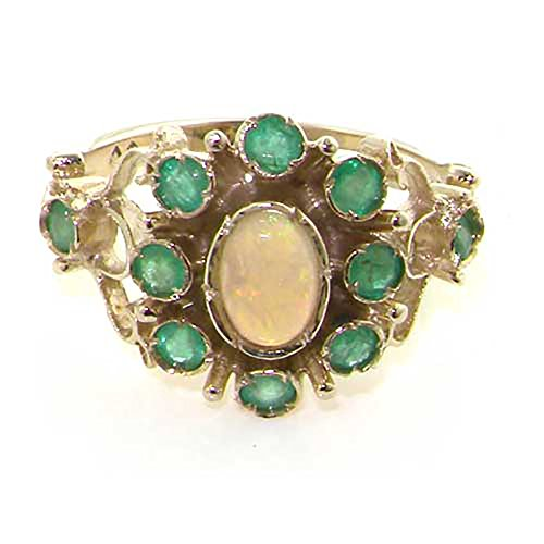 LetsBuyGold 14k White Gold Real Genuine Opal and Emerald Womens Cluster Ring - Size 11 (Emerald Cluster Ring Setting)