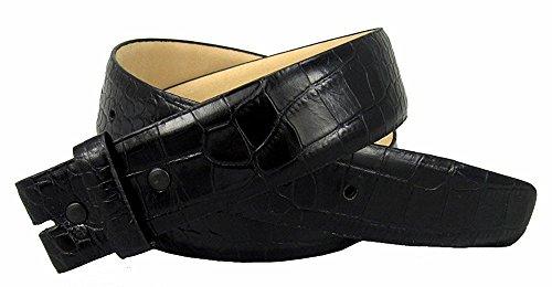 Buckle Black Calfskin Belt (Hagora Women's Real Italian Calfskin Alligator Texture 1.5