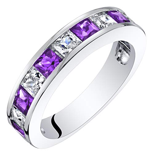 - Sterling Silver Princess Cut Amethyst Half Eternity Wedding Ring Band Size 9