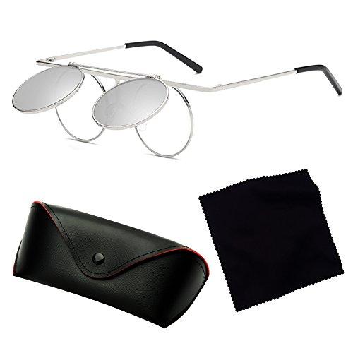 de Hombres Gothic sol Steampunk polarizadas gafas C7 Mujeres Polarized Up hibote Lens Round Flip Vintage qgwSn