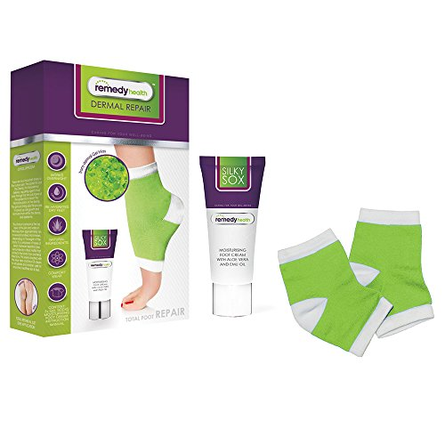 Remedy Health Foot, Heel and Callus Repair Kit - Cracked Heels and Calluses Treatment Cream and Silky Sox Gel Foot Sleeves