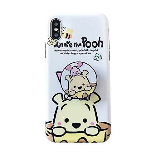 Slim Soft TPU Winnie The Pooh Bear Case with Finger Holder Kickstand for iPhone XR 6.1 Inch Shockproof Walt Disney Cartoon Piglet Pig Cute Lovely Girls Teens Kids Daughter Son