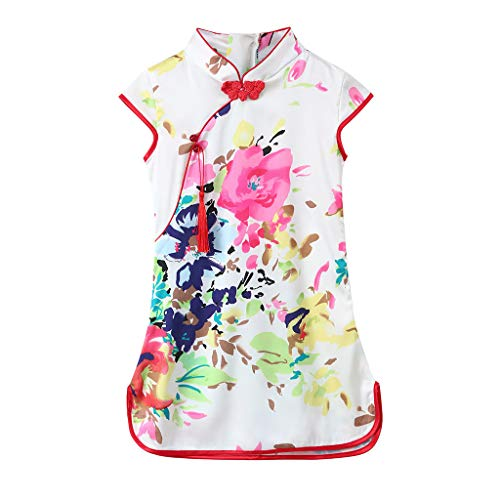 ❤Ywoow❤ Summer Girls Dresses, Girls Kids Flowers Sleeveless Cheongsam Kids Floral Party Princess Dresses (Pink, 3-4 Years Old)