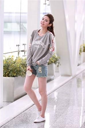 Ninimour Camiseta Empalme con Lace de Mangas largas Girl Floral T-Shirt Crewneck Blouse Long Sleeves Hoody para Mujer: Amazon.es: Ropa y accesorios