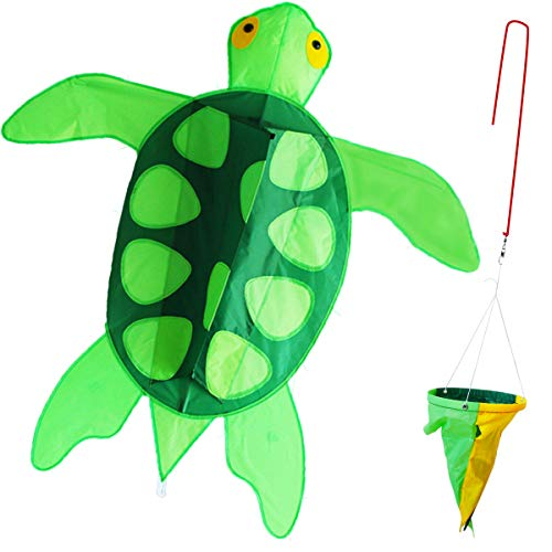 ZHUOYUE Kids Kites Easy Flyer,Large Sea Turtle Kite for Boys Girls with Long Tail,Flying Line and Handle,Single Line Kite 3d Easy to Fly in the Beach Park Garden, Funny Outdoor Toys for Games