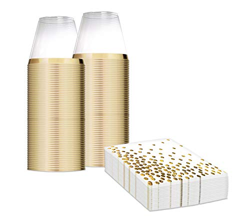 (Elegant Gold Rimmed 9 Oz Clear Plastic Tumblers & Gold Dot Cocktail Napkins - 50 Fancy Disposable Napkins & 50 Cups with Gold Rim Perfect for Holiday Party, Wedding, Every Occasion (100 Pack))