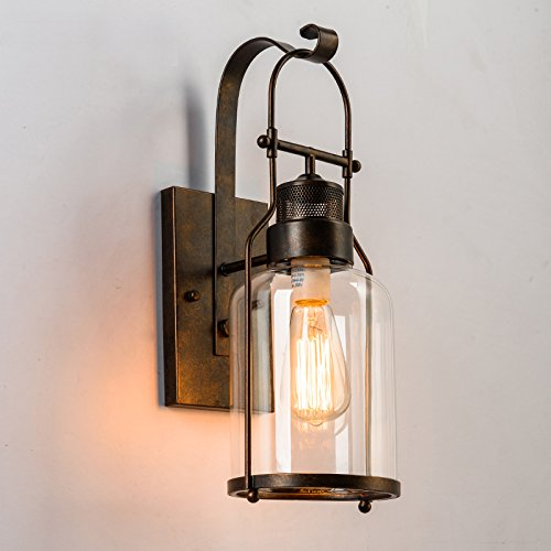 LightInTheBox Vintage Industry Wall Sconces Retro Rustic Nordic Glass Wall Lamp for Living Room Dining Room Kitchen Cafe Bars Bar Table (Brown)