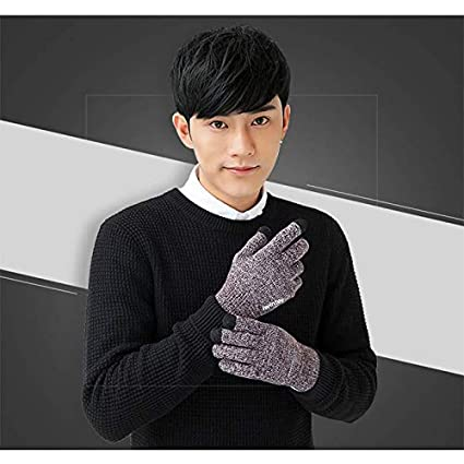 ZHQUN Winter Autumn Unisex Knitted Gloves Touch Screen Thicken Warm Wool Cashmere Slip-Proof Solid Gloves Black,Men